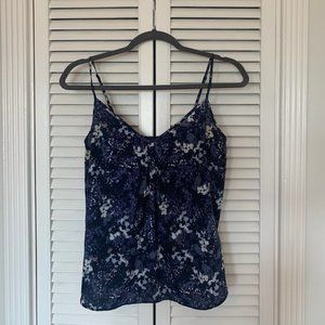Tops - Floral blue tank top